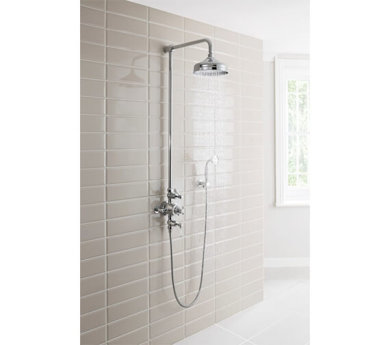 Crosswater Belgravia Chrome Thermostatic Shower Rigid Riser With 8 Inch Head And Handset