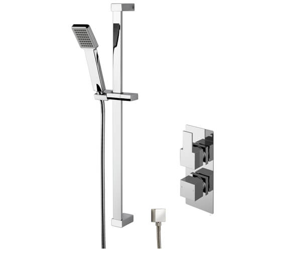 Nuie Sanford Twin Thermostatic Valve With Rectangular Slide Rail Kit And Elbow