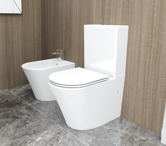IMEX Arco 665mm Rimless Closed Back Close Coupled WC Pan With Cistern