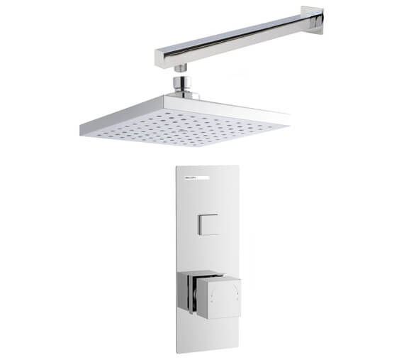 Nuie Square Push Button Valve With Shower Head And Arm