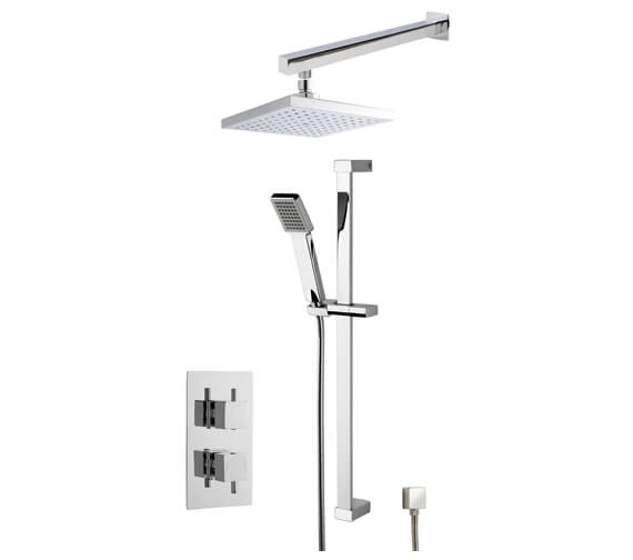 Nuie Twin Conc Thermostatic Valve With Shower Kit And Square Head