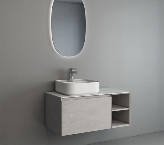 Additional image of IMEX Ravine 900mm Single Drawer Cabinet With Open Shelf