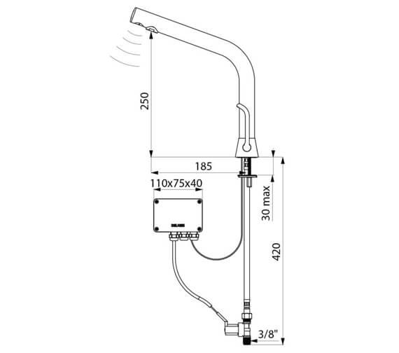 Additional image of Delabie Binoptic Mix Electronic Basin Mixer Tap