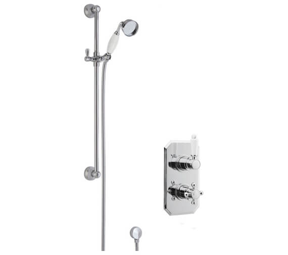 Nuie Traditional Twin Thermostatic Shower Valve And Slider Rail Kit