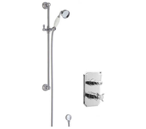 Nuie Beaumont Twin Shower Valve And Traditional Slider Rail Kit