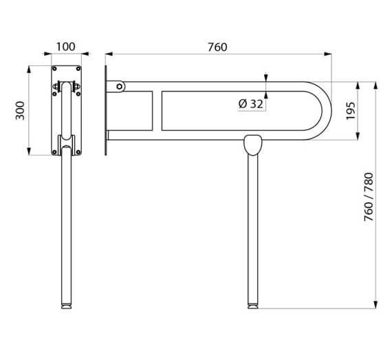 Additional image of Delabie Basic White 760mm Drop Down Grab Bar