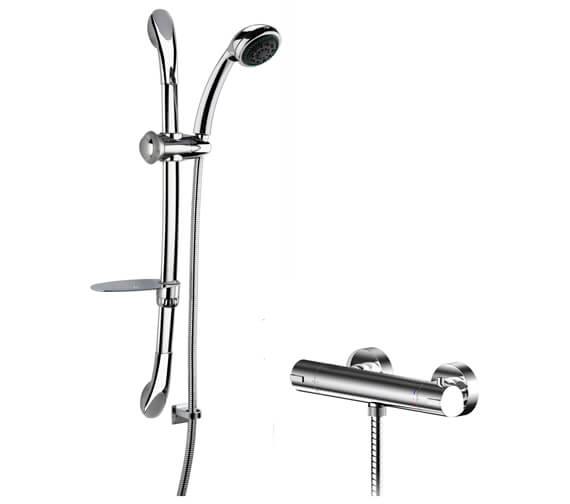 Nuie Binsey Thermostatic Bar Valve And Luxury Curved Slider Rail Kit