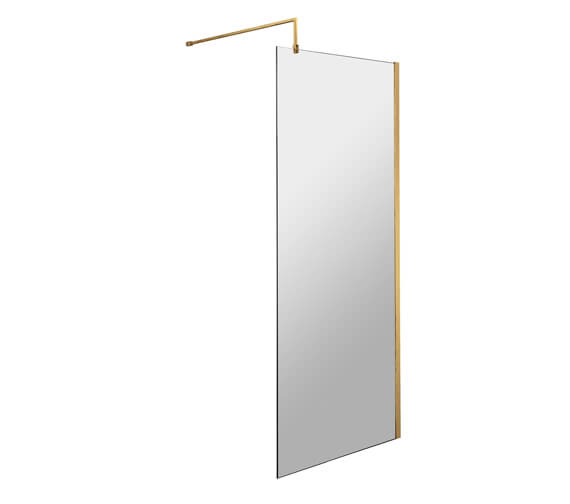 Hudson Reed Wall Fixed Wetroom Screen With Brass Support Bar