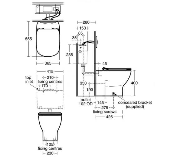 Ideal Standard Tesi Back to Wall Toilet With Aquablade Technology