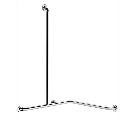 Delabie Stainless Steel Angled 2 Wall Shower Grab Bar With Vertical Bar