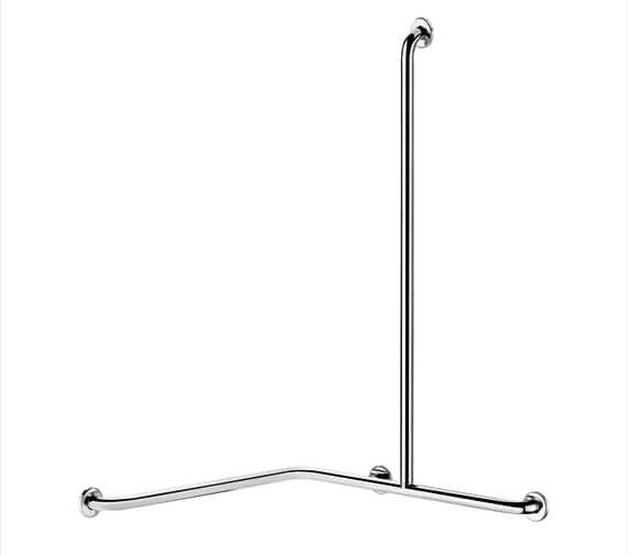 Additional image of Delabie Stainless Steel Angled 2 Wall Shower Grab Bar With Vertical Bar