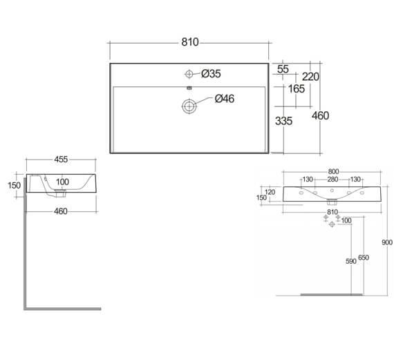 Technical drawing QS-V105559 / DESWB06100AWHA