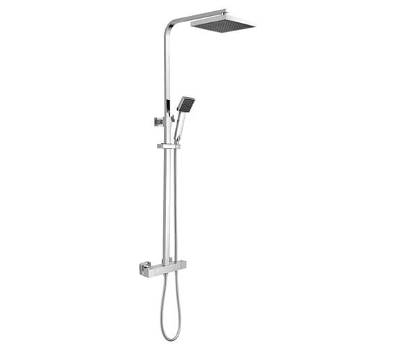 Nuie Square Stainless Steel Thermostatic Bar Valve With Rigid Riser Kit