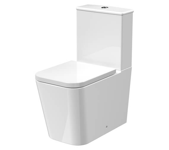Nuie Ava 374 x 615mm Square Back To Wall WC Pan With Cistern And Seat
