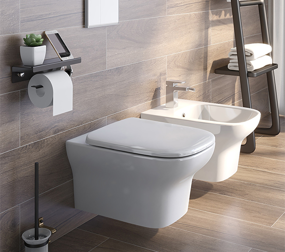Additional image of IMEX Grace Rimless Wall Hung WC Bowl And Soft Close Seat 500mm