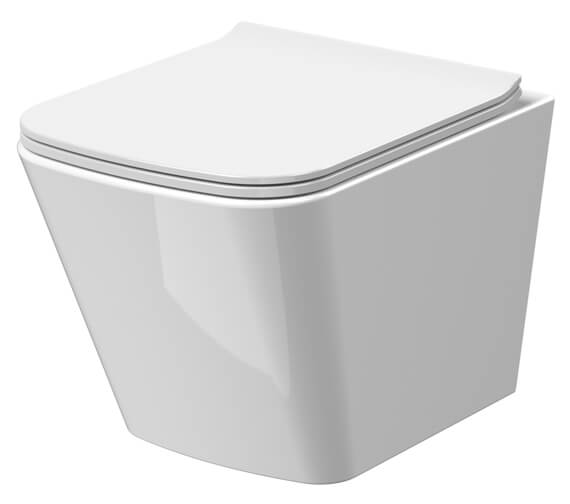 Nuie Ava 350 x 480mm Square Wall Hung WC Pan And Soft-Close Seat