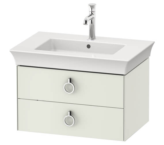 Duravit White Tulip Wall Mounted 2 Drawer Vanity Unit With Handle