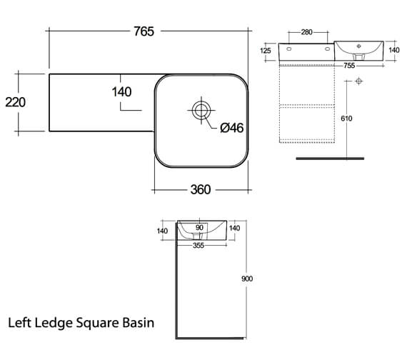 Alternate image of RAK Ceramics Petit 765mm Wide Wall-Hung Round Wash Basin With Left Ledge