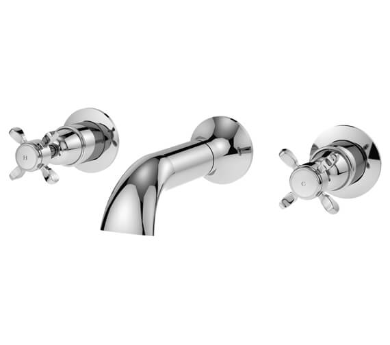 Nuie Selby Wall Mounted 3 Hole Bath Filler Tap Chrome