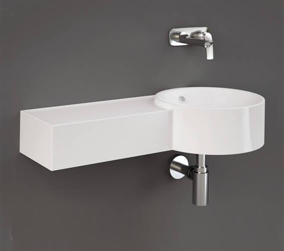RAK Ceramics Petit 765mm Wide Wall-Hung Round Wash Basin With Left Ledge