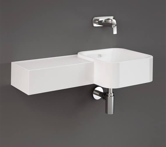 Additional image of RAK Ceramics Petit 765mm Wide Wall-Hung Round Wash Basin With Left Ledge