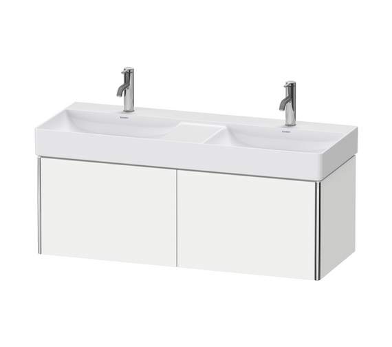 Duravit XSquare 1200mm Wall Mounted 2 Pull-Out Compartment Vanity Unit And Durasquare Double Bowl Basin