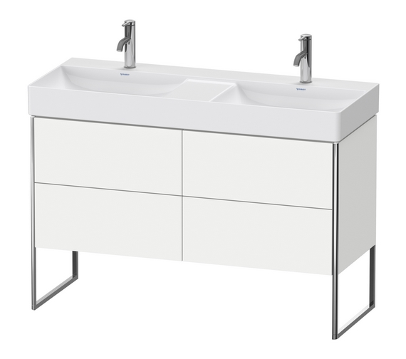 Duravit XSquare Floor-Standing 4 Pull-Out Compartment Vanity Unit With Durasquare 1200mm Double Bowl Basin