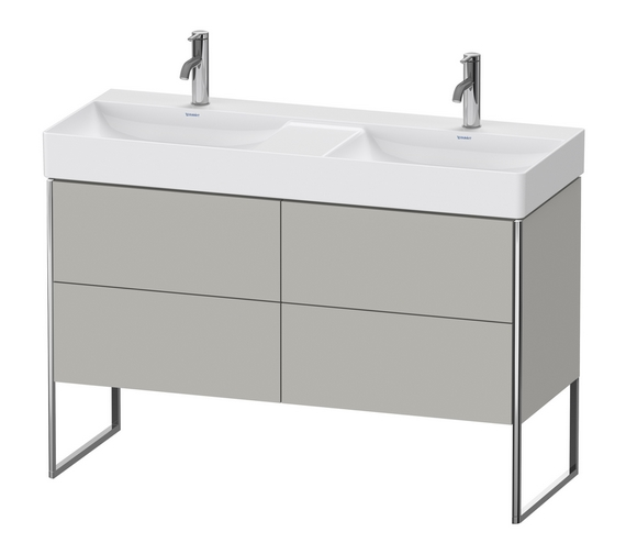 Additional image of Duravit XSquare Floor-Standing 4 Pull-Out Compartment Vanity Unit With Durasquare 1200mm Double Bowl Basin