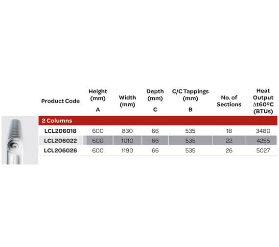 Alternate image of Kartell K-Rad Laser Klassic 2 Column Horizontal White Radiator 600mm High