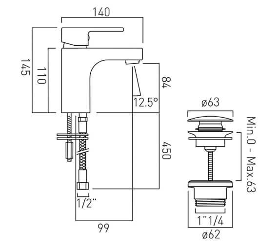 Additional image of Vado Life Mono Single Lever Basin Mixer Tap