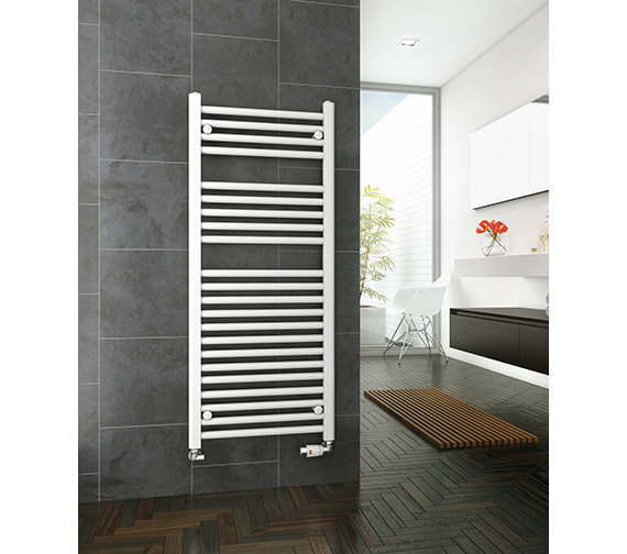 DQ Heating Metro 300mm Wide Straight Heated Towel Rail White Or Chrome