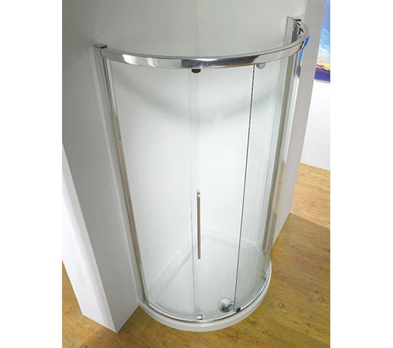 Kudos Original 810mm White Curved Slider Shower Door Side Access