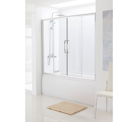 Lakes classic over bath semi frame less double slider door for 1800mm high shower door