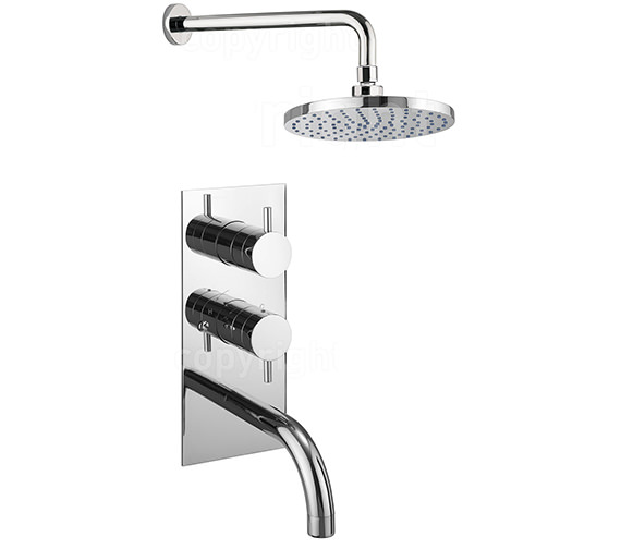 Crosswater Kai Lever Thermostatic Valve With Spout And Wall Shower Head