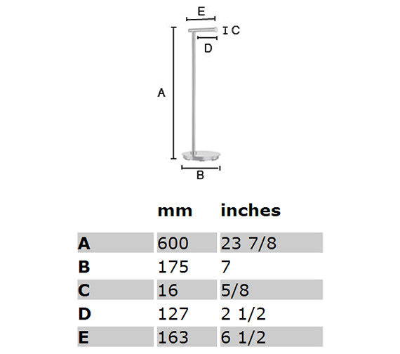 smedbo outline lite free standing toilet roll holder round base technical drawing qss251 fk606