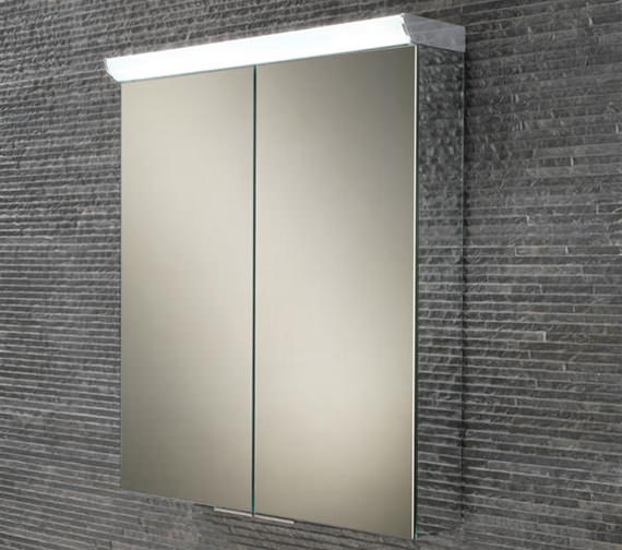 HIB Flare Double Door LED Top Illuminated Mirror Cabinet 600 x 700mm