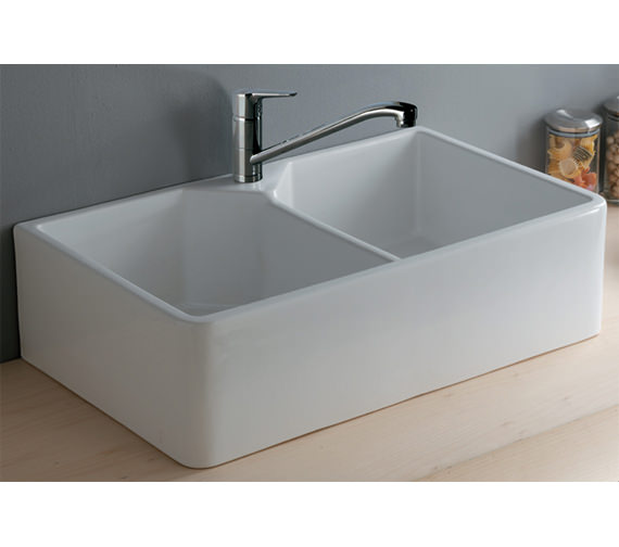 RAK Gourmet 10 Belfast Double Bowl Fireclay Over Or Undermount Kitchen Sink