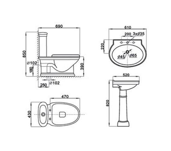 Technical drawing QS-V1013 / AQVA/LMK3011+LMK3013