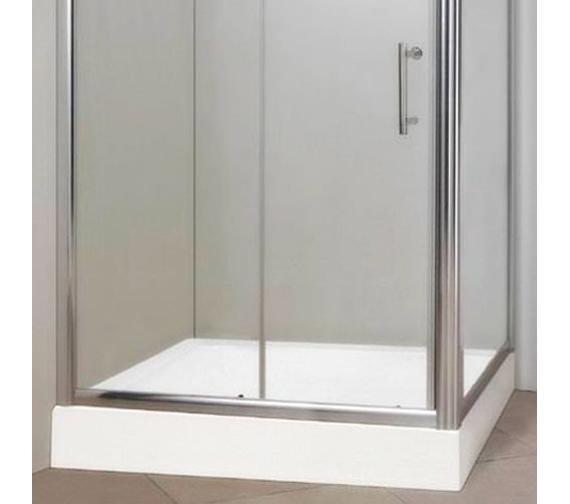 Alternate image of Aqva Chrome Framless Sliding Shower Door 1200 x 800mm