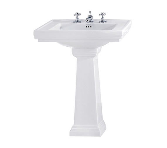 Imperial Astoria Deco 640mm Large Basin With Tall Pedestal White