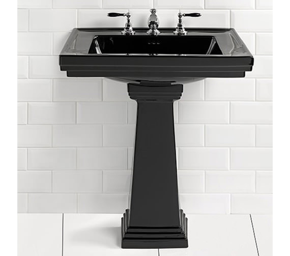 Imperial Astoria Deco Black 640mm Large Basin With Tall Pedestal