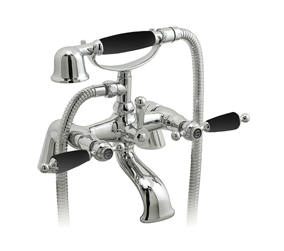 Vado Kensington Exposed Pillar Mounted Bath Shower Mixer Tap - Chrome-Black