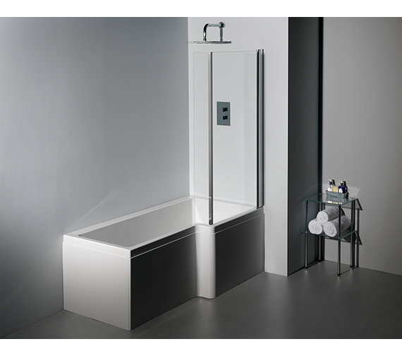 Additional image of Carron Quantum Square 5mm Acrylic Right Hand Shower Bath 1600 x 850mm