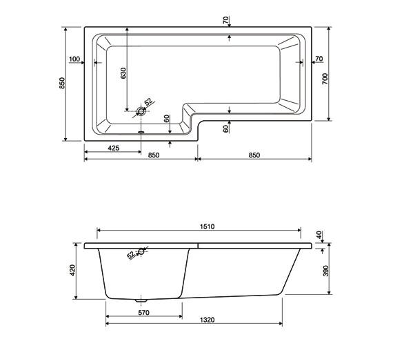 Technical drawing QS-V14195 / 200THAMES17RHCWS24