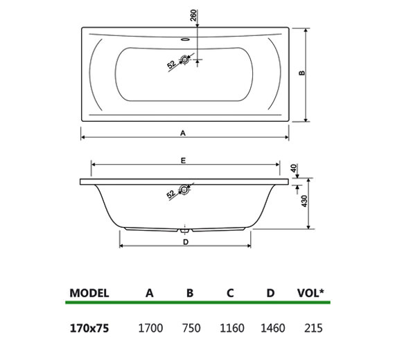 Technical drawing QS-V34630 / 154ARENA1775