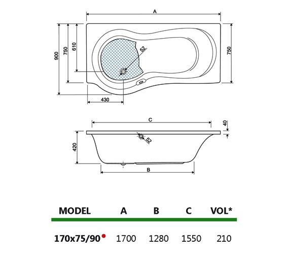 Technical drawing QS-V34727 / 200IRIS17RHCWS24