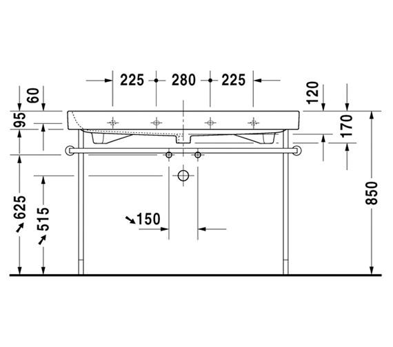 Additional image of Duravit Happy D2 1200 x 505mm Furniture Washbasin