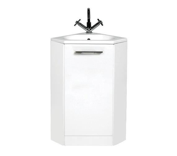 Phoenix cara gloss white 400mm corner base unit with basin for White gloss kitchen corner unit