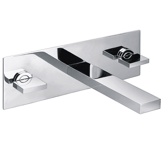 Pura Bloque 3 Hole Wall Mounted Basin Mixer Tap With Clicker Waste