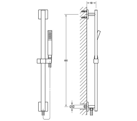 Additional image of Pura Bloque Shower Riser Rail Kit - With Or Without Integral Wall Connector